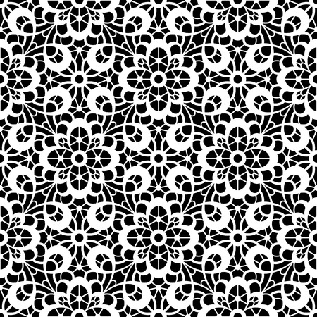 Black and white lace texture, lacy seamless pattern Vector