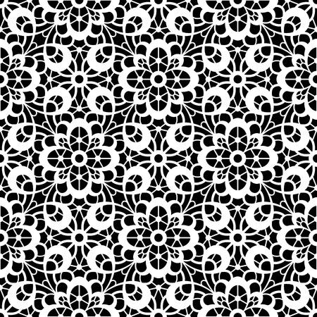 Schwarze und weiße Spitzebeschaffenheit, spitzen nahtlose Muster