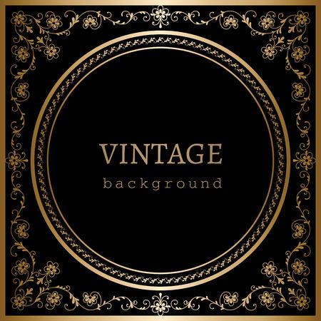 Vintage gold ornamental frame on black background