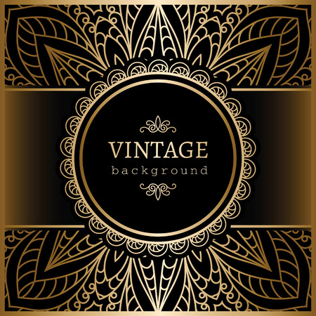 Vintage gold background, ornamental label over lacy pattern Vector