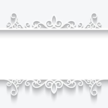 bordes decorativos: Marco de papel del recorte, divisor ornamental en el fondo blanco