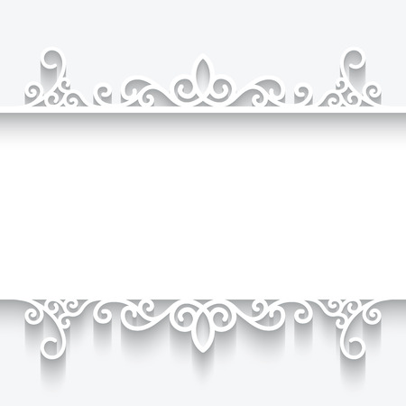 Cutout paper frame, ornamental divider on white background