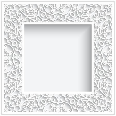 Abstracte vierkante frame met papieren wervelingen, sier witte achtergrond