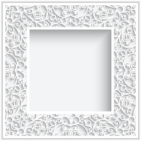 Abstract square frame with paper swirls, ornamental white background