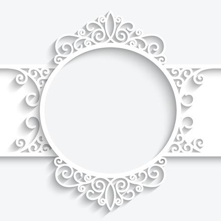marcos redondos: Marco de papel con la sombra, la etiqueta ornamental remolinos sobre fondo blanco Vectores
