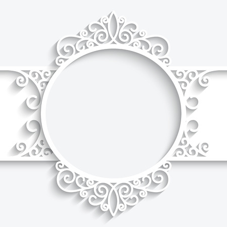 lace frame: Paper frame with shadow, swirly ornamental label on white background