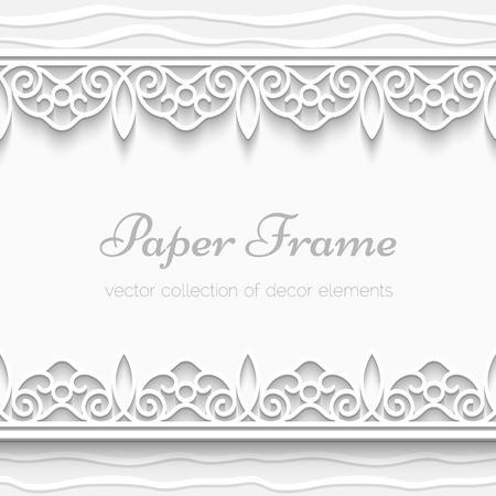 Cutout paper frame with seamless borders, ornamental background Vector