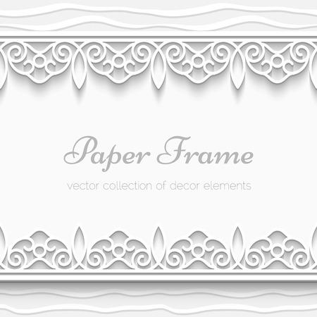 Cutout paper frame with seamless borders, ornamental background 版權商用圖片 - 27906800