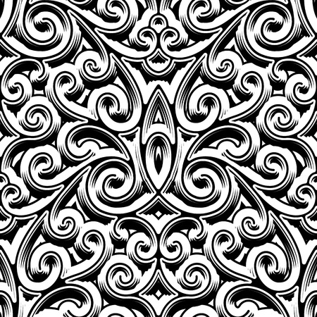 Black and white swirly ornament, vintage seamless pattern