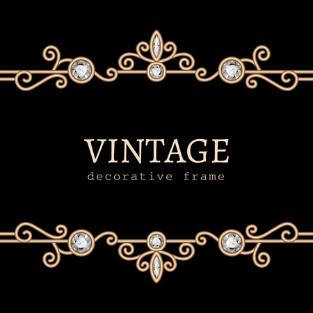 Vintage Gold Jewelry Frame On Black Background Royalty Free Cliparts