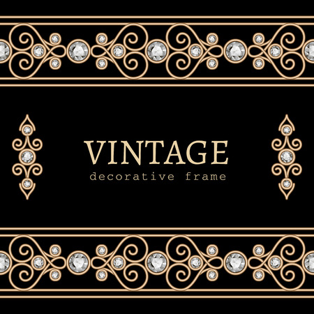Vintage gold frame with jewelry borders on black background Vector