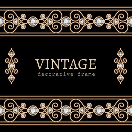 vintage gold frame: Vintage gold frame with jewelry borders on black background Illustration
