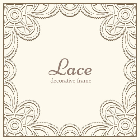 floral decoration: Square lace frame, vintage background