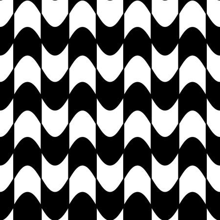 arte optico: Fondo blanco y negro abstracto, modelo inconsútil ondulado Vectores