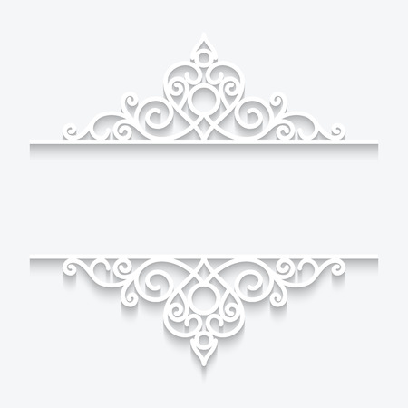 Cutout paper dividers on white, ornamental lace frame Vector