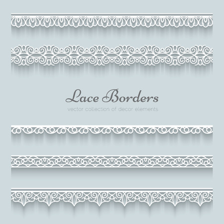 Set of lace borders, ornamental paper lines