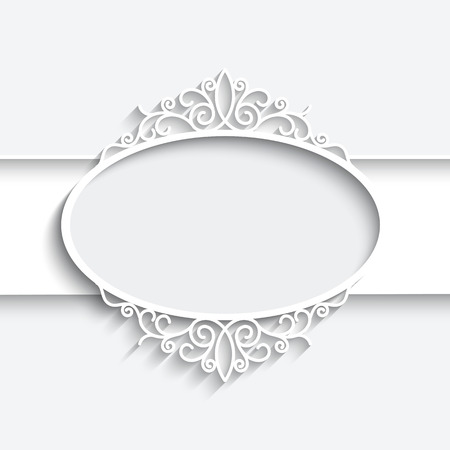 Paper frame with shadow, ornamental lacy label on white background Vector