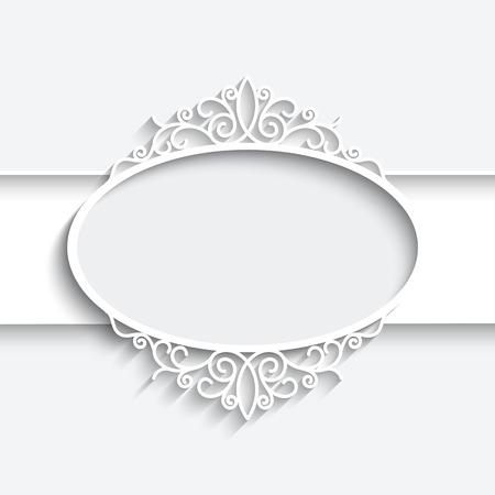 Trame de papier avec l'ombre, l'étiquette de dentelle ornementale sur fond blanc Banque d'images - 28416089