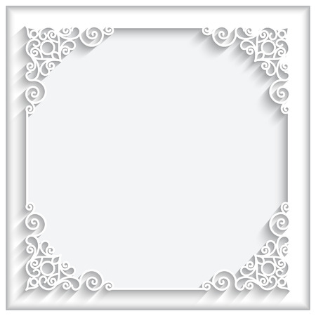 Abstract square lace frame with paper swirls, ornamental white background Ilustração
