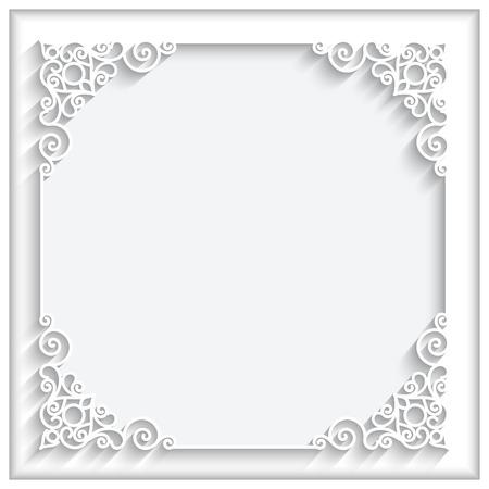 rahmen: Abstrakte quadratischen Spitzen-Rahmen mit Papier wirbelt, Zier weißem Hintergrund