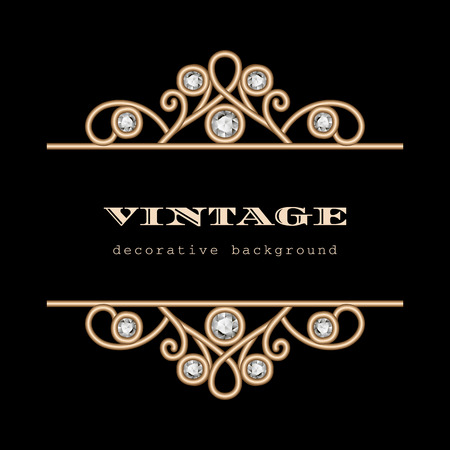 Vintage gold jewelry frame on black background Vector