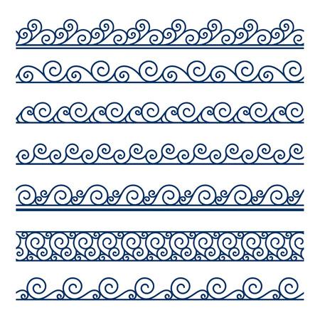 gale: Set of ornamental wavy borders on white