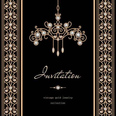 chandelier isolated: Vintage gold frame, invitation template with jewelry borders on black background Illustration