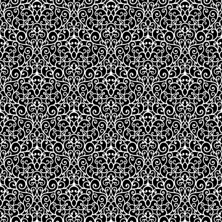 guipure: Abstract black and white ornament lace texture, seamless pattern Illustration