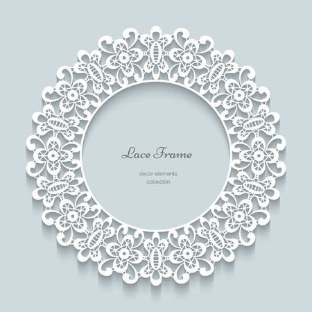 round collar: Paper background, lace collar, ornamental lacy frame, round vignette