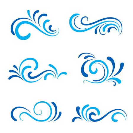 波のアイコンは、白で隔離される装飾的な波状の形のセット