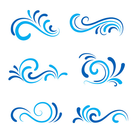 Wave icons, set of decorative wavy shapes isolated on white