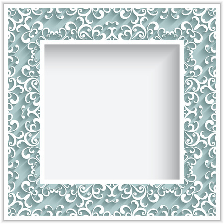 Abstract square frame with paper swirls, ornamental lace background