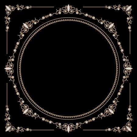 Vintage gold background, round jewelry frame and corners on black Ilustração