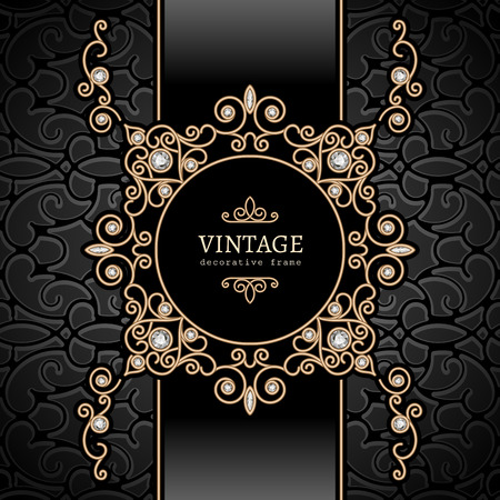Vintage gold background, diamond vignette, swirly jewelry frame Vector