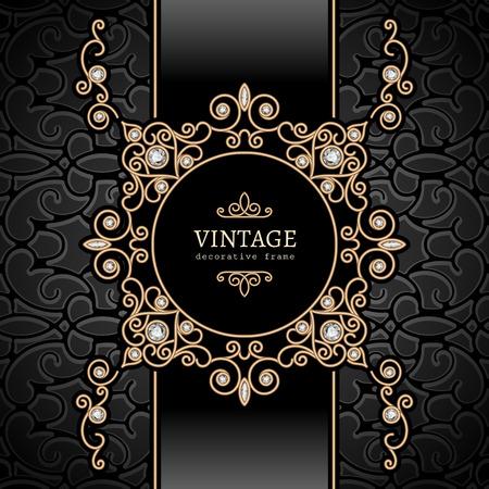 Vintage gold Hintergrund, Diamant-Vignette, wirbel Schmuckrahmen