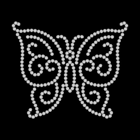 black butterfly: Dotted butterfly, diamond pattern on black