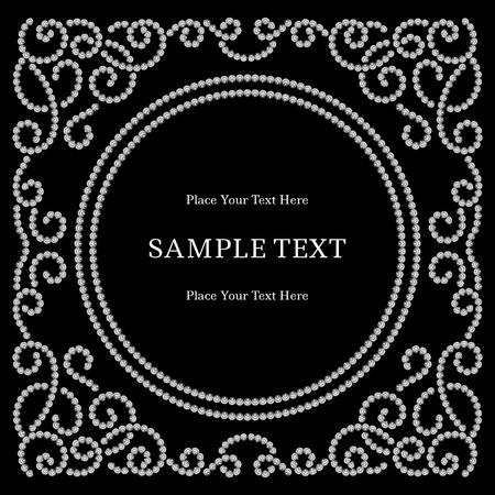 black swirls: Square dotted jewelry frame on black background