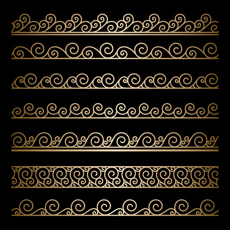 Set of wavy gold borders, ornamental lines on black Vector