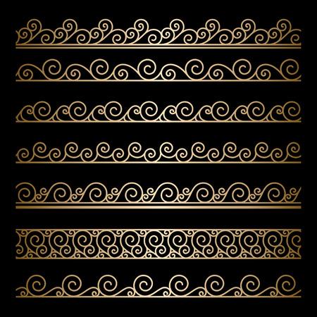 Set of wavy gold borders, ornamental lines on black Vector