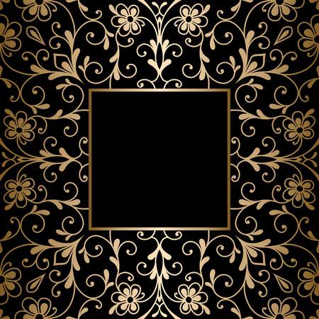 Vintage gold background, square ornamental frame on black Ilustração
