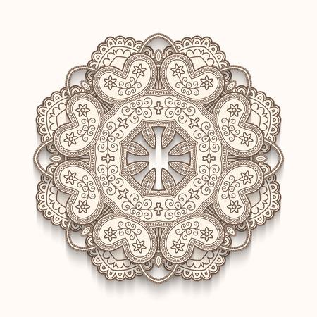 fretwork: Round ornamental trivet on white, poker-work, handmade wooden decoration