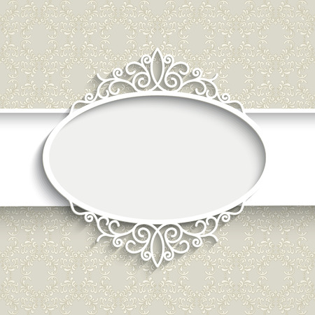 Paper frame with shadow, scrapbook decoration, white lacy label on ornamental background