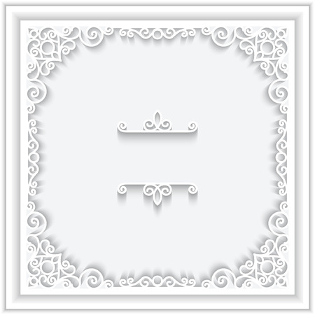 Abstract square frame with paper swirls Illustration