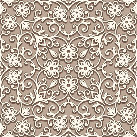 lattice: Vintage beige floral ornament, swirly seamless pattern