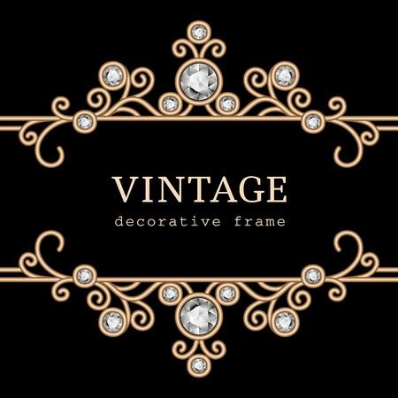 Vintage gouden sieraden frame op zwarte achtergrond