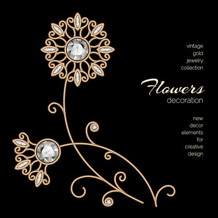 Vintage gold dandelions, jewelry flowers on black background