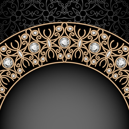 antique jewelry: Vintage gold background, ornamental arch, jewelry frame over pattern