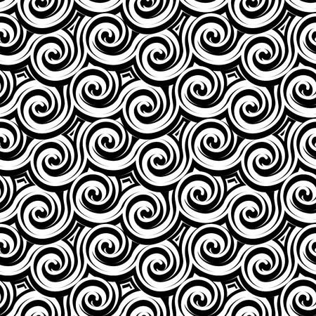 bas relief: Black and white curls, wavy carving texture, abstract seamless pattern