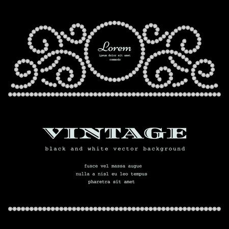 black swirls: Diamond pattern on black background, vintage dotted frame
