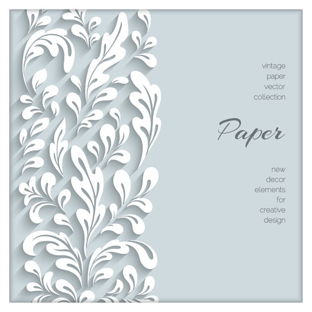 cut paper art: Abstract floral background with paper swirls